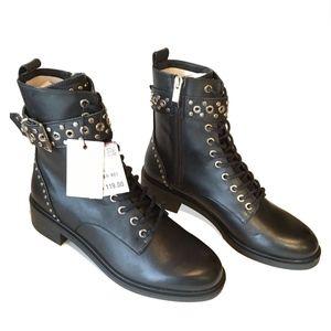 ZARA studded leather BIKER BOOTS  zip opening. 8